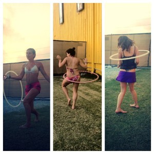 "Hula hooping is just one of the many activities that can be used to enter a mental state of ""flow"". (From left to right: Rebecca Burton, Rachel Hojnacki, Heather Parker)"