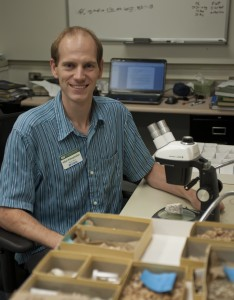 Postdoctoral researcher Adiel Klompmaker is lead author of a new study suggesting a direct correlation between the abundance of coral reefs and the diversity of many crustaceans. Florida Museum of Natural History photo by Jeff Gage